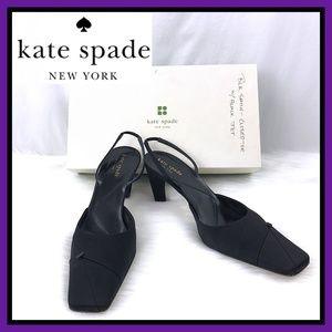 Kate Spade Black Satin Closed Toe Slingback Pumps